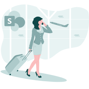 Girl Migration with luggage and SharePoint Logo