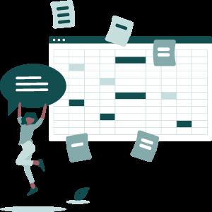 Women designing calendar in SharePoint with SharePoint Logo