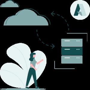 Azure Hybrid Cloud Infrastructure Services Illustration